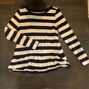 LOFT peplum striped top